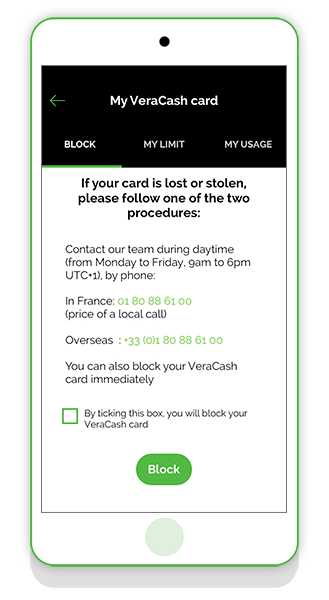 Block your VeraCash card via the app