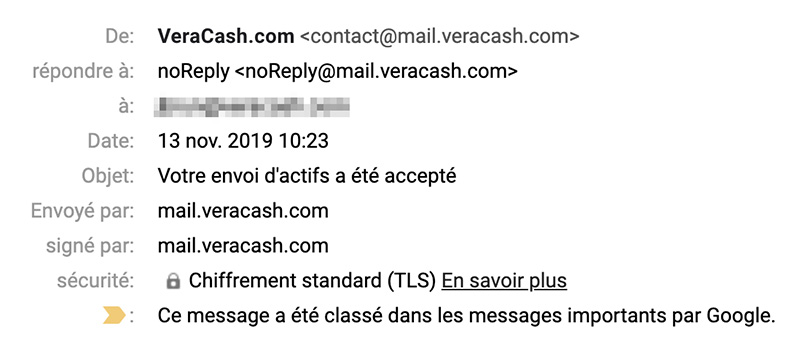 VeraCash automatic emails